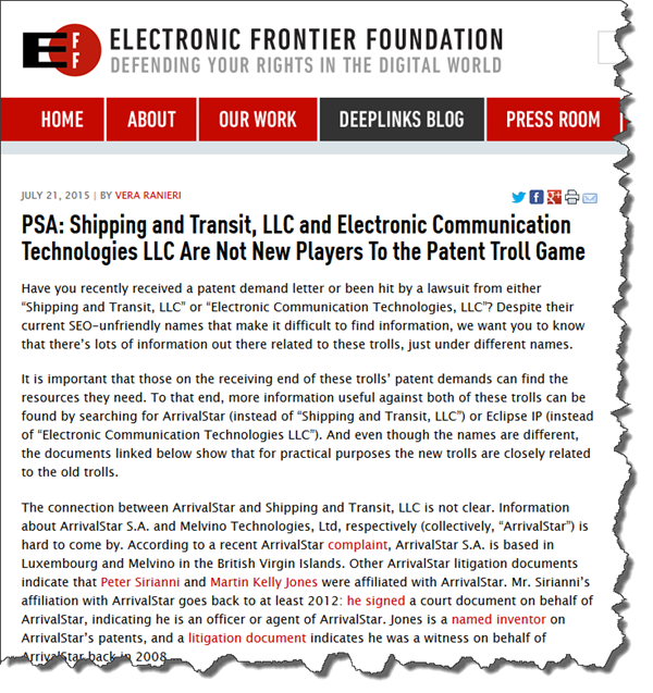 PSA Shipping And Transit LLC Electronic Communication Technologies Are Not New Players To The Patent Troll Game